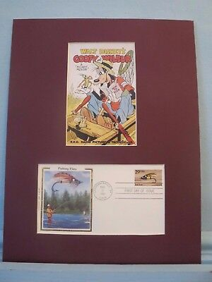 """Walt Disney's Goofy & Wilbur in """"How to Fish"""" & First Day Cover of Fly Fishing"""