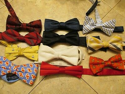 Lot Of 11 Diferent Brand   Men's  Bow Tie Silk-Polyester Made In Usa-China