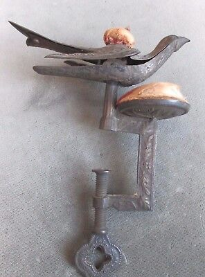 Antique Victorian Metal Table Clamp On Sewing Bird Pin Cushion Vintage Folk Art