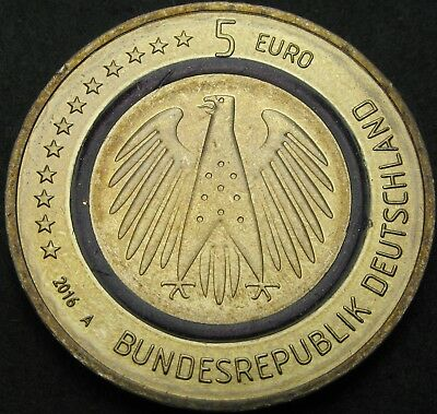 GERMANY 5 Euro 2016F - Gold plated CuNi - aUNC - 1194 ¤