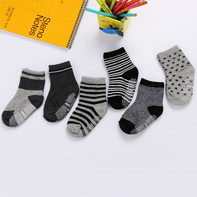 6 Pairs Assorted Ankle Cotton Socks Baby Girls Boys Toddler Anti Slip Stripes