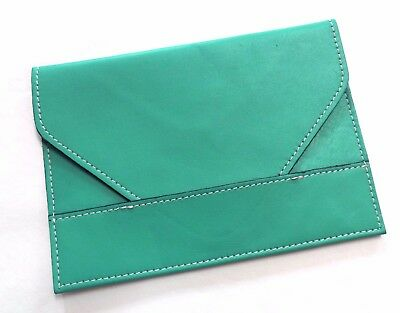 "New Raika Leather Photo Envelope 4"" X 6"" Picture Holder Turquoise / Teal"