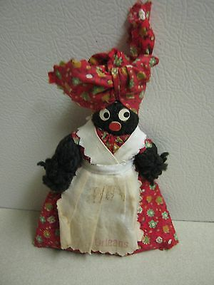 Vintage Black Americana Yarn Doll/Finger Puppet Collectible New Orleans Souvenir
