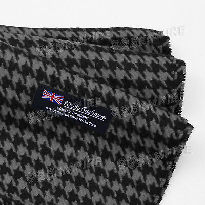 Women's Men's 100% CASHMERE Black Houndstooth Scarf MADE IN SCOTLAND