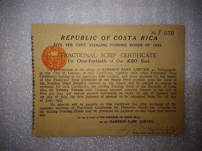 Costa Rica, Republic of Costa Rica, Fractional Script Certif. 1/40 of £20, 1933
