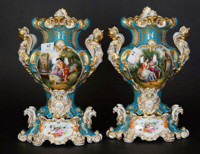 RARE PAIR antique French vieux paris porcelain Vases caryatids Dragon eagle