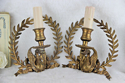 PAIR Rare Brass Empire french antique Laurel Swan wall lights sconces 1930