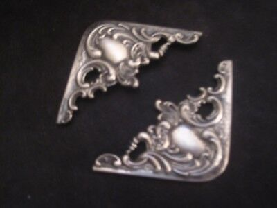 2 Sterling Silver Repousse Blotter Corners for Desk Beautiful WOW