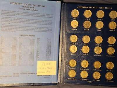 1938 1939 1950 - 1964 P D S Jefferson Nickel Set 71 Coins Circulated Whitman #3