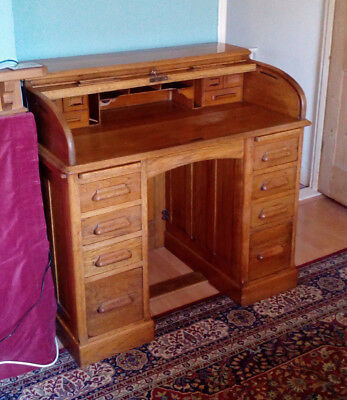 Antique Oak Pedestal Roll Top Desk