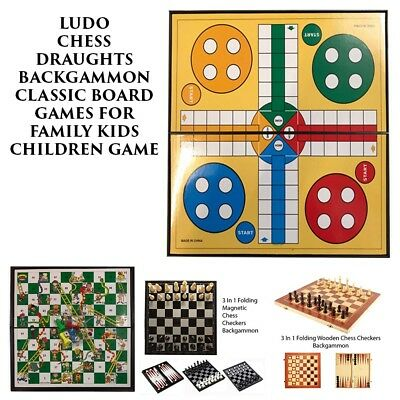 Ludo Chess Draughts Backgammon Classic Board Games For Family Kids Children Game