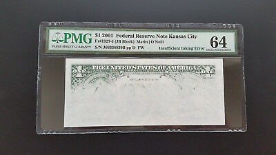 2001 $1 Frn Dramatic Insufficient Ink Error   Pmg 64 Chuncirculated <<
