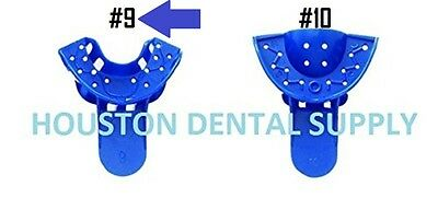 12 Dental Disposable Impression Trays Perforates Blue #9 ANTERIOR LOWER - UPPER