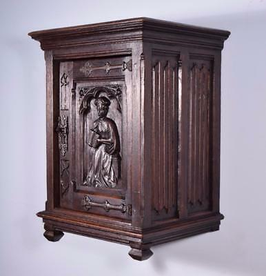 *Antique French Gothic Wall/Key/Bar Cabinet in Oak with Deep Carvings