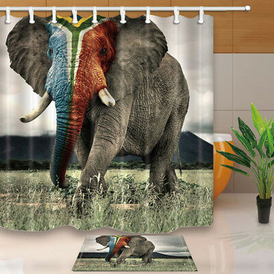 African Wild Large Elephant Waterproof Fabric Bathroom Shower Curtain & 12 Hooks