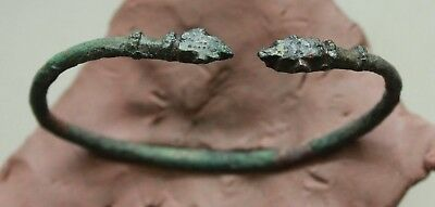 L6  Ancient Roman Bronze Bracelet  D=45-65mm 12,4g Heads of Panters  Quality