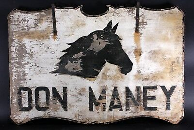 Large Vintage Don Maney Race Horse Farm Double Sided Wood Advertising Sign