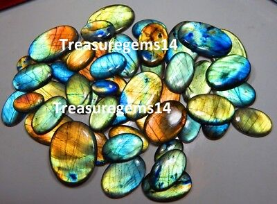 250Carat Top Natural Wholesale Lot Multi Fire Labradorite Oval Cabochon Gemstone