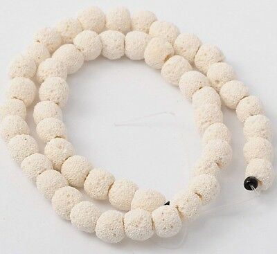 Lava Beads White 8mm Diffuser Scent Aromatherapy Essential Oil Jewelry Making
