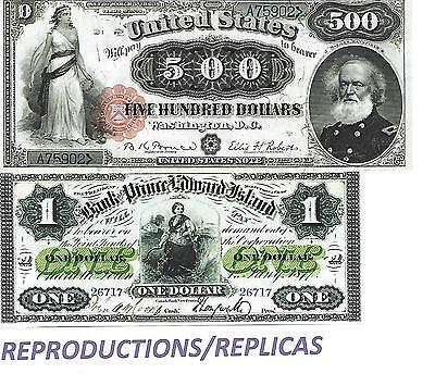 Reproduktions---Old Americas Dollars--2 Banknoten--Unc