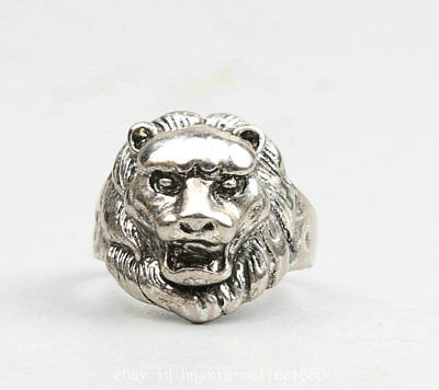 28MM Exquisite Chinese Miao Silver Lovable Animal Lion Head Fashion Jewelry Ring