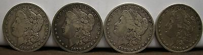 1878-1904 *~CIRCULATED*~ Silver Morgan Dollars  Old Antique 4  Coin Lot!