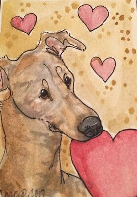 ACEO Greyhound Brindle Dog , Hearts,A Watercolor Original Art By NFISH
