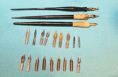 Vintage Lot Caligraphy Nibs And Pens - A.w. Faber, Speedball, Esterbrook, Etc.
