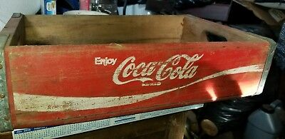 Vintage Wooden Coca Cola 24 Bottle Crate Old Red Wood Coke