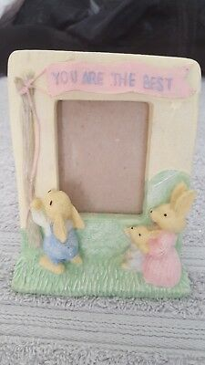 "bunny photo frame, ceramic, ""you are the best"" 3.5"" x 4.5"""