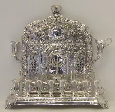 Fine 925 Sterling Silver Handcrafted Ornate Chased Back Wall Hanukkah Menorah