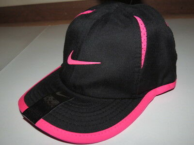 NWT Nike Dri-Fit toddler Girls Baseball Cap Hat Swoosh Logo Black Pink 2/4T $18