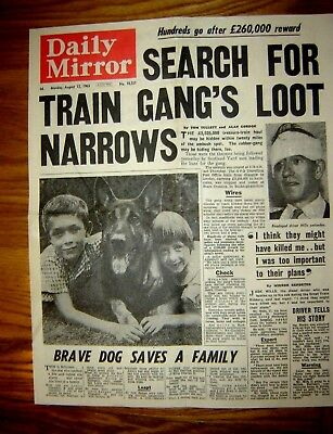 Copy of front page of Daily Mirror august 12/14 1963 Great Train Robbery