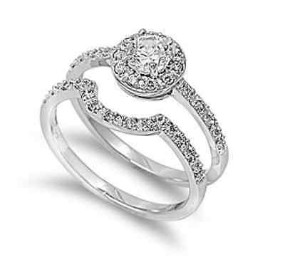 Antique Style Sterling Silver Simulated Diamond Size 7 Engagement Ring Set S1