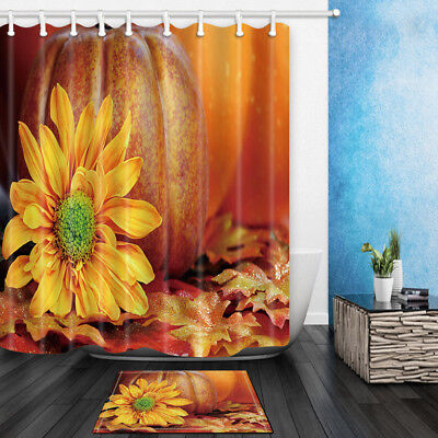 Sunflower Pumpkin On Fallen Leaves Bathroom Fabric Shower Curtain 71X71 Inches