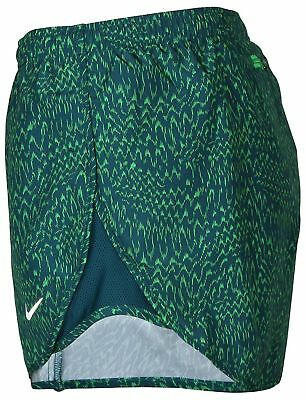 Nike Women's Sz Med Dri-Fit Modern Tempo Print Running Shorts 904910 346 Green