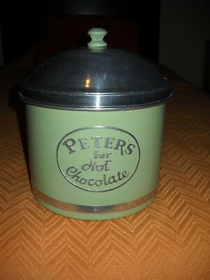Vintage 1940S  Peter's For Hot Chocolate  Soda Fountain Container