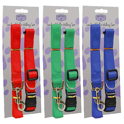 Adjustable dog lead and collar set choose blue green or red collar 30 - 48cm