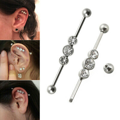 Retro Surgical Steel Industrial Bar Scaffold Ear Barbell Ring PIERCING JEWELRY