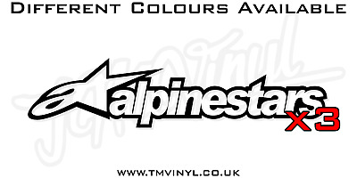 3 X Alpinestars Logo Stickers / Decals - Different Colours Available