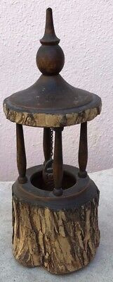 Old Wood-Carved Miniature Wishing Well Dated 1927