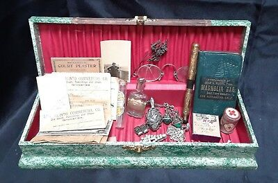 Antique Early 1900s Victorian Lot Glasses Jewelry Date Book Tie Box Bottles