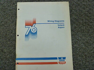 1976 dodge aspen & plymouth volare coupe sedan electrical wiring diagram  manual