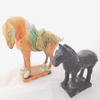 Vintage Chinese Tang Horses San Cai Pottery Glazed and Matt Black 20th C
