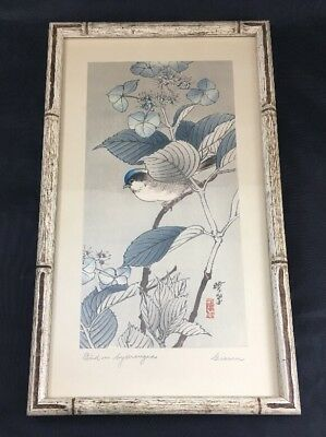 Bird on Hydrangea by Giosin Japanese Art Print Signed by Artist