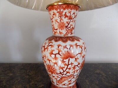 """Pair Of Lamps Tong Chi Iron Red & White Chinese/japanese Porcelain Cloisonne 22"""""""