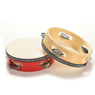 Wooden Hand Rattles Drum Classic Tambourine Toy for Kids Baby NewbornTH