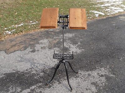 Antique Victorian Cast Iron & Oak Dictionary / Bible Stand Pat'd 1895 (RESTORED)