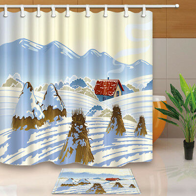 Straw House In Snowy Mountain Bathroom Fabric Shower Curtain With Hooks 71""