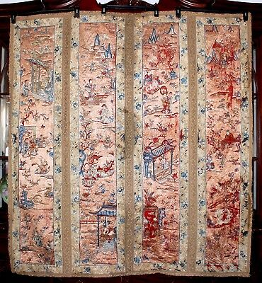 C'19th Qing Chinese Cantonese Embroidered Pictorial Scenic Textile Panel 54'x56'